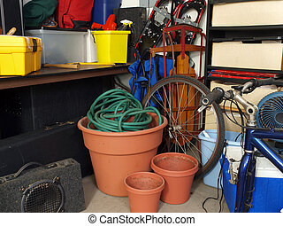 Garage Junk - Cluttered corner of a busy suburban garage
