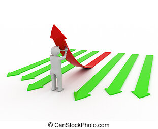 3d illustration of person pushing up one red  arrow.