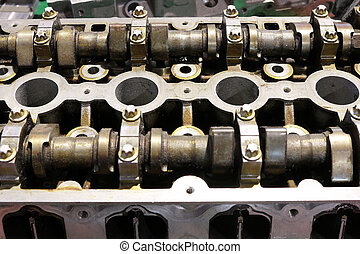car engine camshaft close up