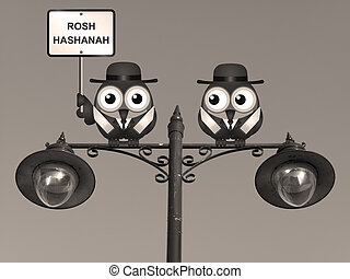 Sepia Rosh Hashanah Jewish New Year with Rabi birds perched...