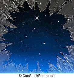 bright star through smashed window - a single bright wishing...