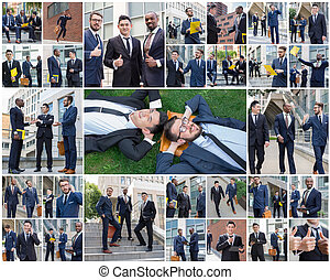 The collage from portraites of multi ethnic business...