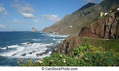 Hills facing the ocean on a sunny day in northern Tenerife,...