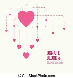 Abstract background with heart and dotted lines blood...