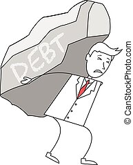 Cartoon man in suit carrying a rock