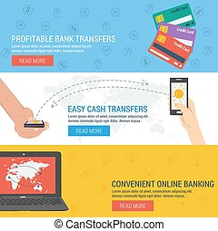 Three banners - online banking - Three vector banners...