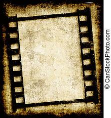 grungy, película, faixa, ou, foto, negativo
