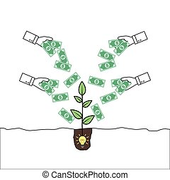 Hands giving money to a plant