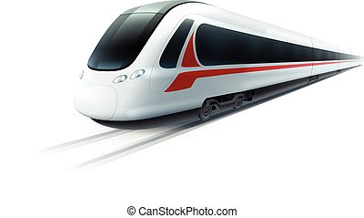 High-Speed Train Realistic Isolated Image - Super...
