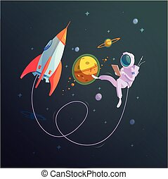 Open Space Background - Open space background with rocket...