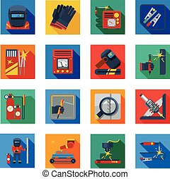 Flat Welding Icons In Colorful Squares - Welding flat icons...