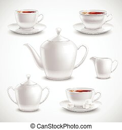 Realistic Tea Set - Realistic tea set with filled teacups...