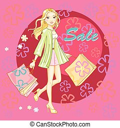 Shopping girl young sexy vector illustration