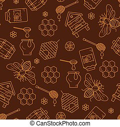 Mead seamless pattern illustration Mead vector symbols Bee,...