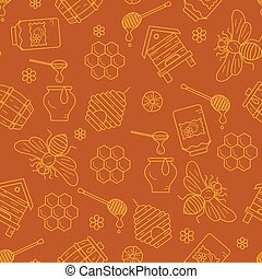 Mead seamless pattern illustration - Honeycomb seamless...