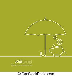 Abstract background with open umbrella with pig piggy bank....