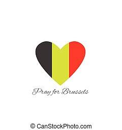 Pray for Brussels Belgium flag, heart shape