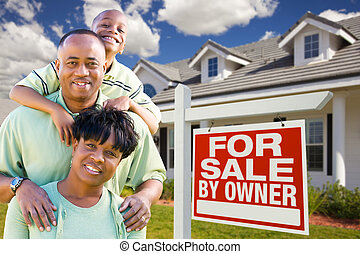 African American Family with For Sale By Owner Sign
