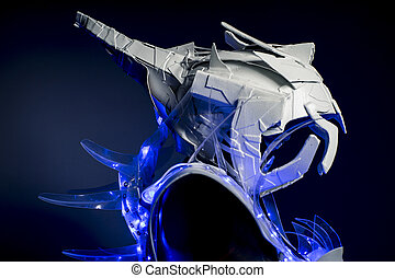 robotic spacesuit with blue lights and transparent sheets,...