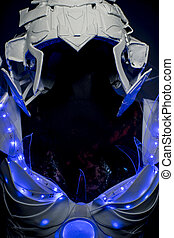 technology, robotic spacesuit with blue lights and...