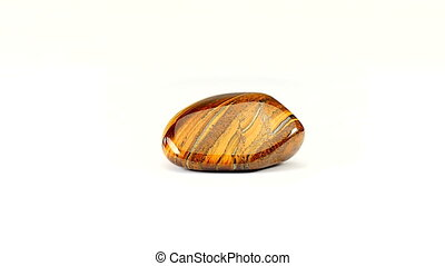 Tiger's Eye flat rotate white - Tiger's Eye flat gemstone...