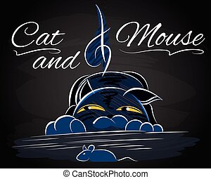 Vector with cat that catches a mouse - Illustration with cat...