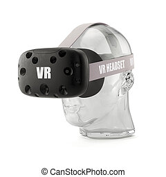 VR virtual reality headset on the glass head isolated on...