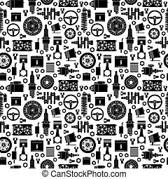 Auto spare parts seamless pattern. Car repair icons...