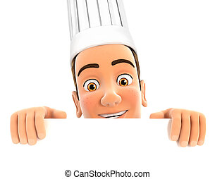 3d head chef hiding behind white wall, isolated white...