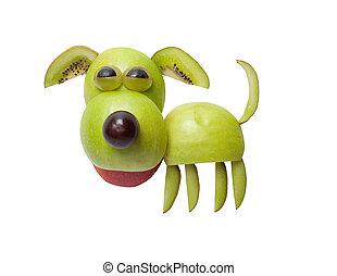 divertido, perro, hecho, de, manzana, en, aislado,...