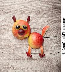 divertido, gato, hecho, de, manzana, en, de madera, Plano de...