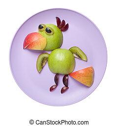 divertido, gallo, hecho, de, manzana, en, rosa, placa,