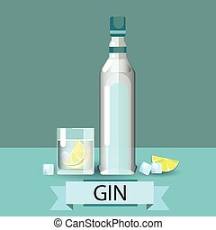 Gin Bottle Glass Lemon Alcohol Drink Icon Flat Vector...