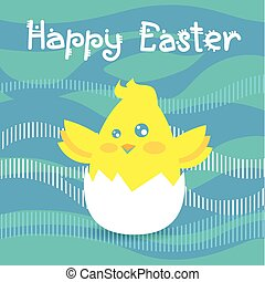 Easter Holiday Greeting Card With New Born Chicken Egg...