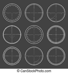 Sniper crosshairs set - Set of military design elements -...