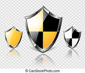 Set of steel shields on transparent background