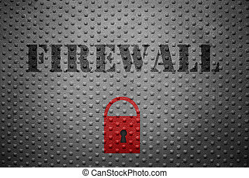 Firewall and lock - Metal with Firewall text and red lock --...