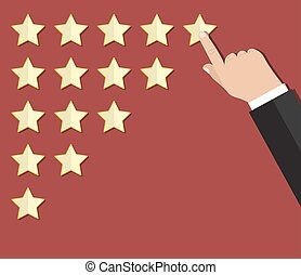 cartoon hand gives a star rating. voting, user review,...