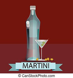 Martini Bottle Glass Olive Alcohol Drink Icon Flat Vector...