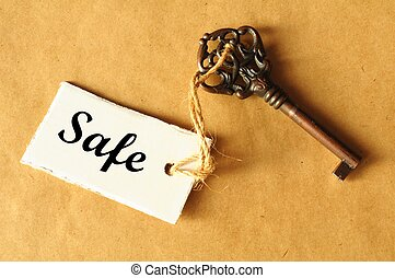safe concept with key and label showing secure investment