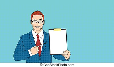Business Man In Glasses Point Pen At Empty Paper Clip Board...