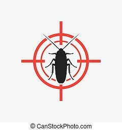 cockroach icon red target - vector illustration eps 8