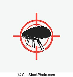 flea icon red target - vector illustration eps 8