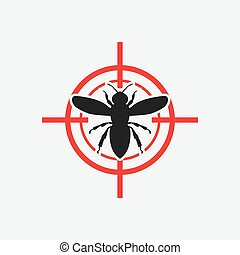 wasp icon red target - vector illustration eps 8