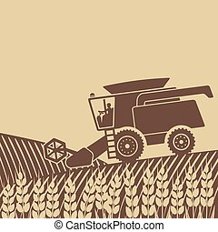 combine harvester in field - vector illustration eps 8