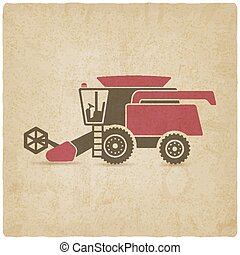 combine harvester farm machinery old background - vector...