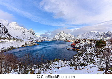 Reine, Lofoten Islands, Norway - Mountain winter background...