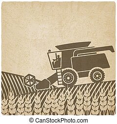 combine harvester in field old background - vector...