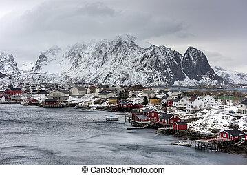 Reine, Lofoten Islands, Norway - Mountain winter background...