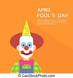 Clown Face First April Day, Fool Holiday Concept With Copy...